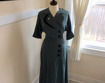Late 1940's or Early 1950's Dress - Vintage 1940s/1950s Rayon Dress, L - Time for a Party Dress