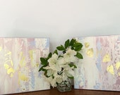 Abstract painting 8x8 inches each Pastel art Blush Gold Pastel Blue