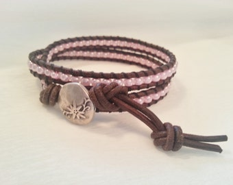 Double wrap, brown leather bracelet, pink seed beads
