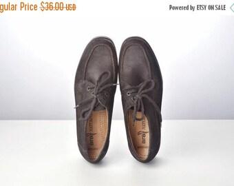 ON SALE Vintage Black Faux Suede Lace Up Shoes