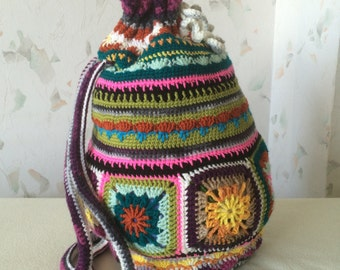 Crochet Granny Square. Vintage art backpack