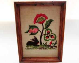 Bunny Embroidery Crewel Picture, Vintage Nursery Decor, Cottage Chic, Tree of Life, Folk Art, Strawberries, Kids Preppy Decor