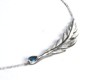 Blue Topaz Feather Necklace - Sterling Silver (925)