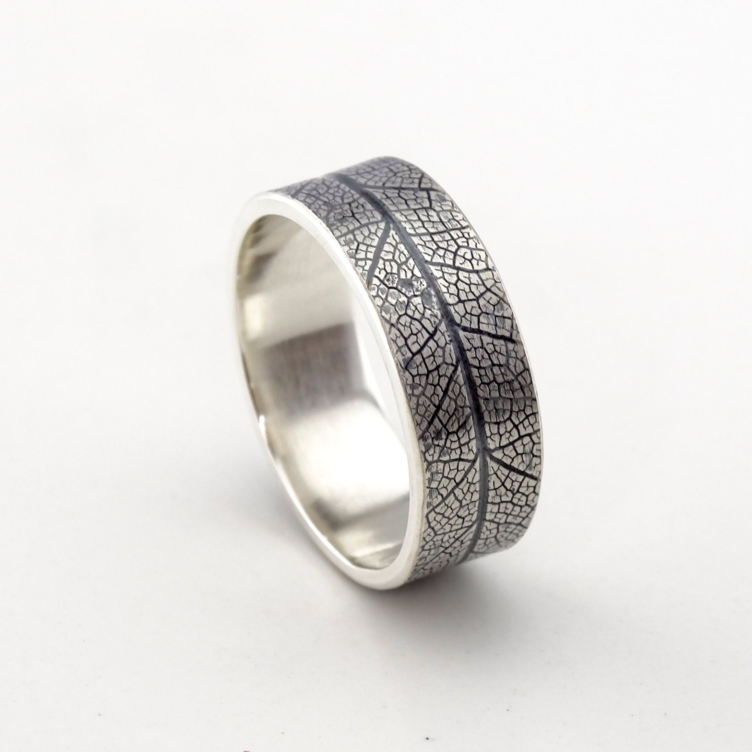 Mens Outdoors Bands: Silver Leaf Ring Men's Wedding Band Nature Ring Outdoor
