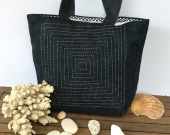 Dark blue Denim tote handbag, handmade, hand embroidered with sasiko embroidery,unique,  funky shopper/everyday/carry all/stylish