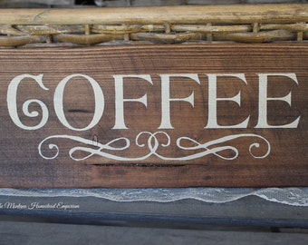COFFEE sign unique coffee signs espresso signs latte signs barista coffee shop decor coffee lover Montana coffee signs dark stained sign