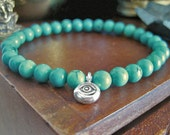 Evil Eye Bracelet - Turquoise Bracelet with Fine Silver Eye Charm, Bohemian Turquoise Jewellery