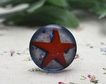 4pcs 25mm Round Handmade Photo Glass Cabochon - Starfish