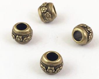 30pcs Antique Bronze Round Tube Flower Spacer Bead Charm Pendants 8x9mm G108-5