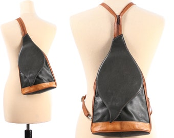 Leather BACKPACK 90s Black Rust Brown Pack Bag Vintage Luxury Rucksack Transformable to Unistrap Crossbody Knapsack made in Italy Women Gift