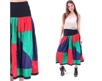 Color Block Skirt 80s High Waist Midi Skirt Patchwork Red Green Black Navy COLOR BLOCK Panel Vintage Flare Vivid Skirt Medium