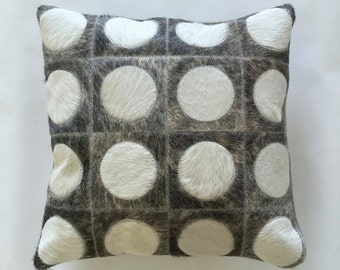 Cowhide Pillow - Grey White Patchwork Cushion - 15 x 15 in