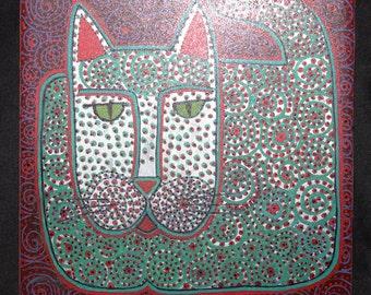 Green & Red Swirly Cat Art Hanging