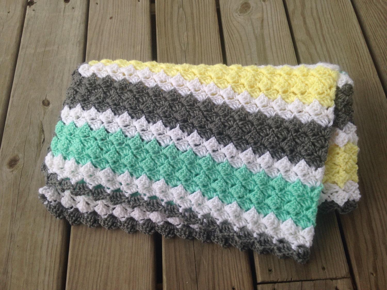 Crochet Baby Blanket Grey Mint Green Light Yellow White