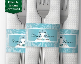 Bridal Shower Napkin Wrapper Template Personalized Band Printable Ring