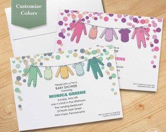 Girl or Boy Baby Shower Invitation with Clothesline, Available Printed Invitation or as Printable PDF