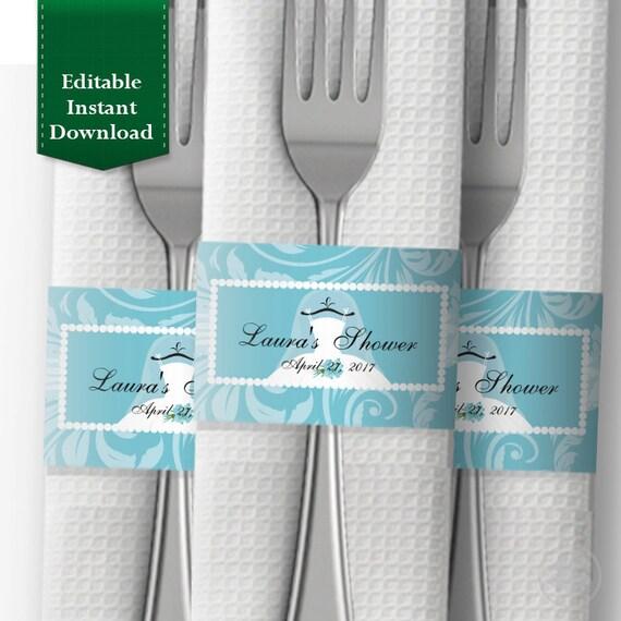 Bridal shower napkin wrapper template personalized napkin band il570xn maxwellsz