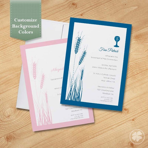 Wheat and Chalice First Communion Invitations Baptism