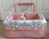 Dog Car Seat - LARGE ***Ready Made Coral, White & Grey - Gingham, Floral *** by FancyFido