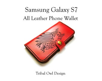 Galaxy S7 Leather Phone Case Wallet / owl phone case / samsung galaxy case / leather phone cover / samsung galaxy s7 case / tribal owl
