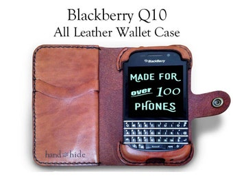 Blackberry Q10 Leather Wallet Case - No Plastic - Free Inscription