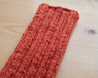 XXS PICC Line / IV Cover (Armband) Terracotta xxlong, machine wash, intravenous, chemo, tpn, hand knit, cotton, elastic, soft, red, earth