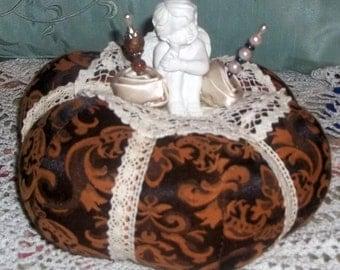 Pumpkin pin cushion, Cherub, Fall Decor, Thanksgiving Decor, Sewing Supplies, Hat Pin, Stuffed Pumpkin