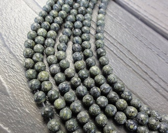 4mm Green Russian Serpentine Beads -  4mm Round Smooth - 16 inch Full Strand