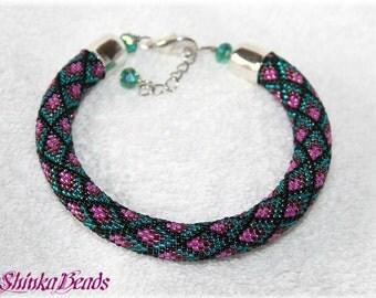 Colorful teal pink rhombus seed bead bracelet elegant accessory handmade geometric pattern