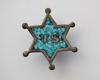 Vintage Sterling Silver US Marshal Star Badge Pin - Turquoise Chip Inlay Tie Tack Pinback Button - Deputy Sheriff Star