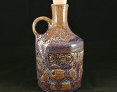 Hawaiian Style Tapa Bottle, Hand Carved