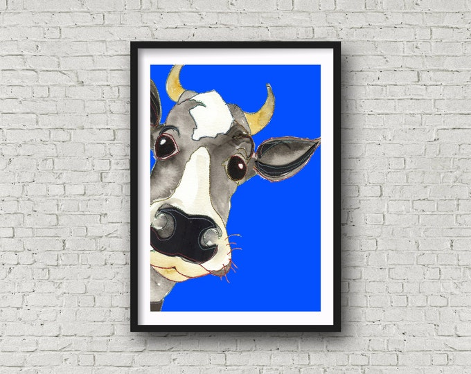 Featured listing image: Cow - Boy Cow - Blue - Funny Cow - PRINT of original artwork