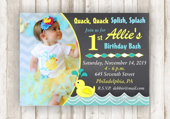 Rubber Duck Birthday Girl First Birthday Rubber Duck Shirt – Rubber Duck Birthday Invitations
