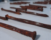 12 hand forged antique iron nails twisted steel supply rustic supplies parts woodworking 1900