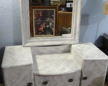 shabby chic painted vanity distressed white all wood with large mirror