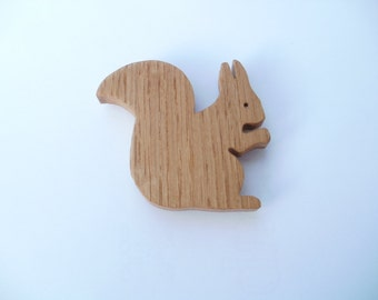 squirrel  fridge magnet silhouette outline  oak scroll saw