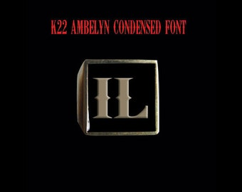 Solid Bronze IL 2 letter  Initial Illinois customizeable enamel coloring  Ring - Free Re-Size/Shipping