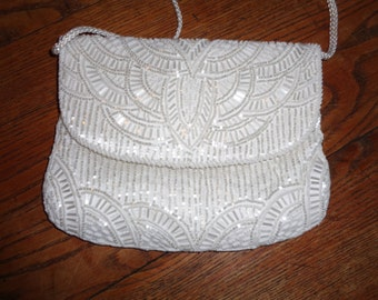 Vintage White On White Beaded Formal Evening Bag in Mint Condition, Made in Macau with a Retro Art Deco Design and satin shoulder strap
