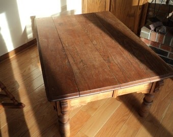 Antique Oak Coffee Table with great rustic appeal and wonderful well developed patina in Very Good Condition for Pick Up or Delivery only