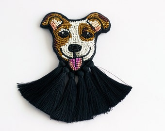 Jack Russel Terrier brooch, best gift idea, Custom made terrier pin, Dog brooch with tassels, Tassel pin - MADE TO ORDER