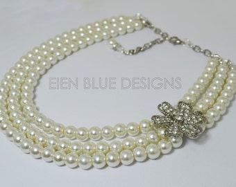Three Strand Pearl Necklace, Ivory Pearl Necklace, Rhinestone Brooch Pearl Necklace , Ivory Pearl & Rhinestone Necklace, Bridal Necklace