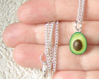 Tiny avocado half Necklace. Polymer clay food. Real look avocado.
