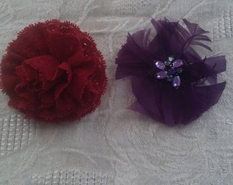 Vintage Set of Two (2) Supplies Purple Feather/Red Lace Pin
