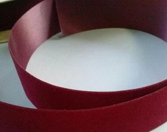 Vintage 1.5 Inch Wide Ribbon Dark Red Burgundy Wine Color Trim Velvette 15 Yards