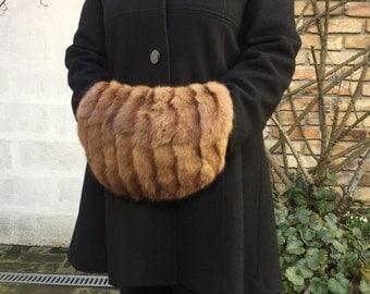 Antique Genuine 1920's siberian squirrel fur hand muff