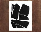 Large Modern Contemporary Forms 11 x 14 Linocut Block Print - 1-7005