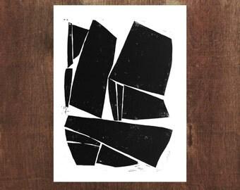 Linocut Print - Large Modern Contemporary Forms 11 x 14 Block Print - 1-7005