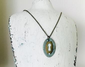 Keyhole Necklace, patina keyhole, oval escutcheon, vintage styke jewelry