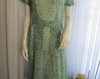 1950's Ladies Blue/Green Floral  DRESS by EVANNA FASHIONS