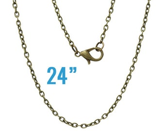 """24 Bronze Necklaces - WHOLESALE - Cable Chains - 3x2mm -  24"""" Long - Ships IMMEDIATELY from California - CH432b"""